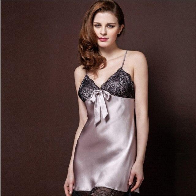 LeafMeiry Ladies Sexy Silk Satin Night Dress Sleeveless Nighties V ...