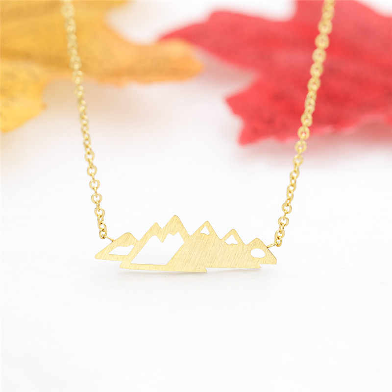 Dainty Gold Mountain Necklace Pendant Women Stainless Steel Chain Mountain Charm Bijoux Nature Jewelry Christmas Gifts