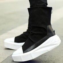 Szsgcn414 мужские ботинки на платформе, визуально увеличивающие рост, на 6 см кожаная обувь с молнией сзади мужские ботинки смешанных цветов Y3 с высоким берцем черного и белого цвета