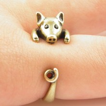 Min 1PC Lucky Pig Animal Wrap Ring Bronze Jewelry Rings Comfortable Lucky Animal Ring For Men Women Gift