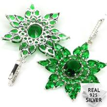 Real 13.9g 925 Solid Sterling Silver Luxury Big Star Shape Green Emerald Woman's Earrings 58x37mm