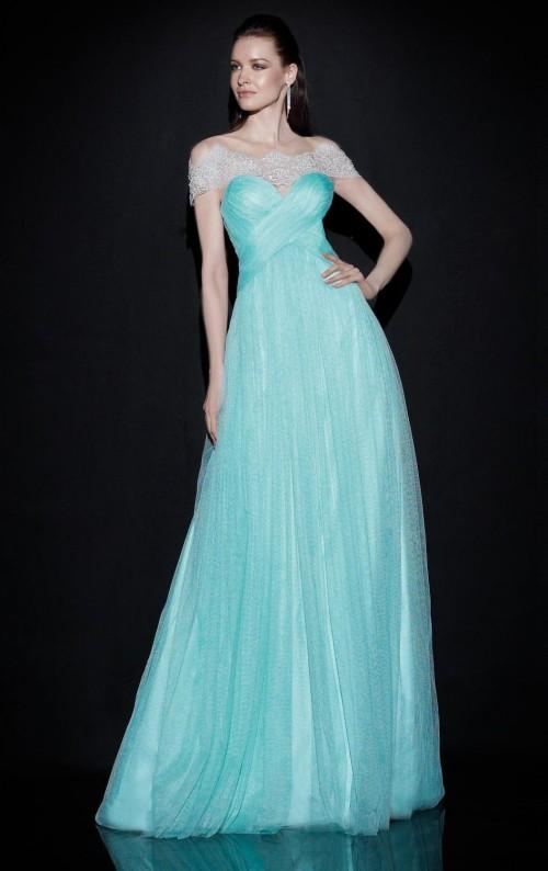 Off Shoulder Backless Evening Dresses 2015 Bateau Vestidos De Festa Ruffled Tulle Sweep Train Light Sky Blue Bridesmaid Dresses Evening Gown