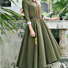 Весна, Новое поступление, высокое качество, воротник Питер Пэн, Пышный рукав, рукав три четверти, женское длинное шифоновое платье