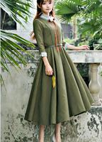 Free Shipping 2017 Spring New Arrival High Quality Peter Pan Collar Puff Sleeve Three quarter Sleeve Woman Long Chiffon Dress