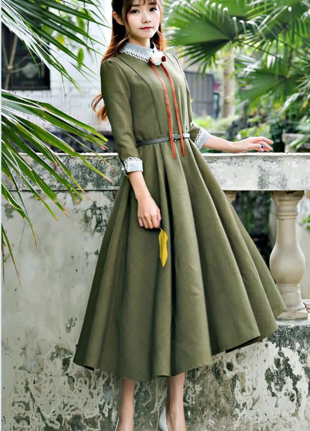 Livraison gratuite 2017 printemps nouveauté de haute qualité col claudine manches bouffantes trois-quarts manches femme longue robe en mousseline de soie