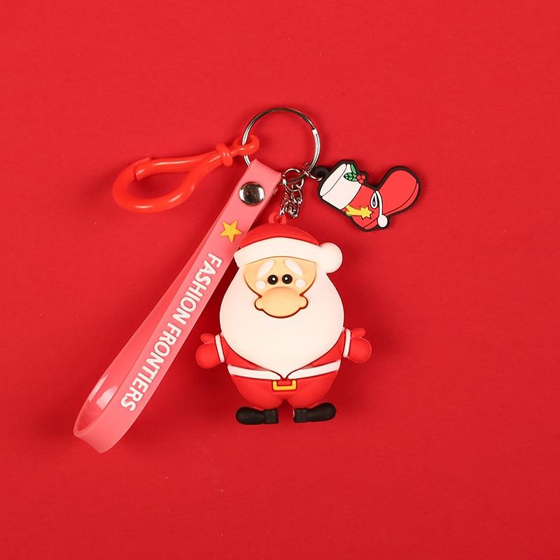Cute Cartoon Santa Claus Keychain Diy Car Key Holder PVC Elk Key Chain Bag Pendant Bts Accessories Girl Gift in Key Chains from Jewelry Accessories