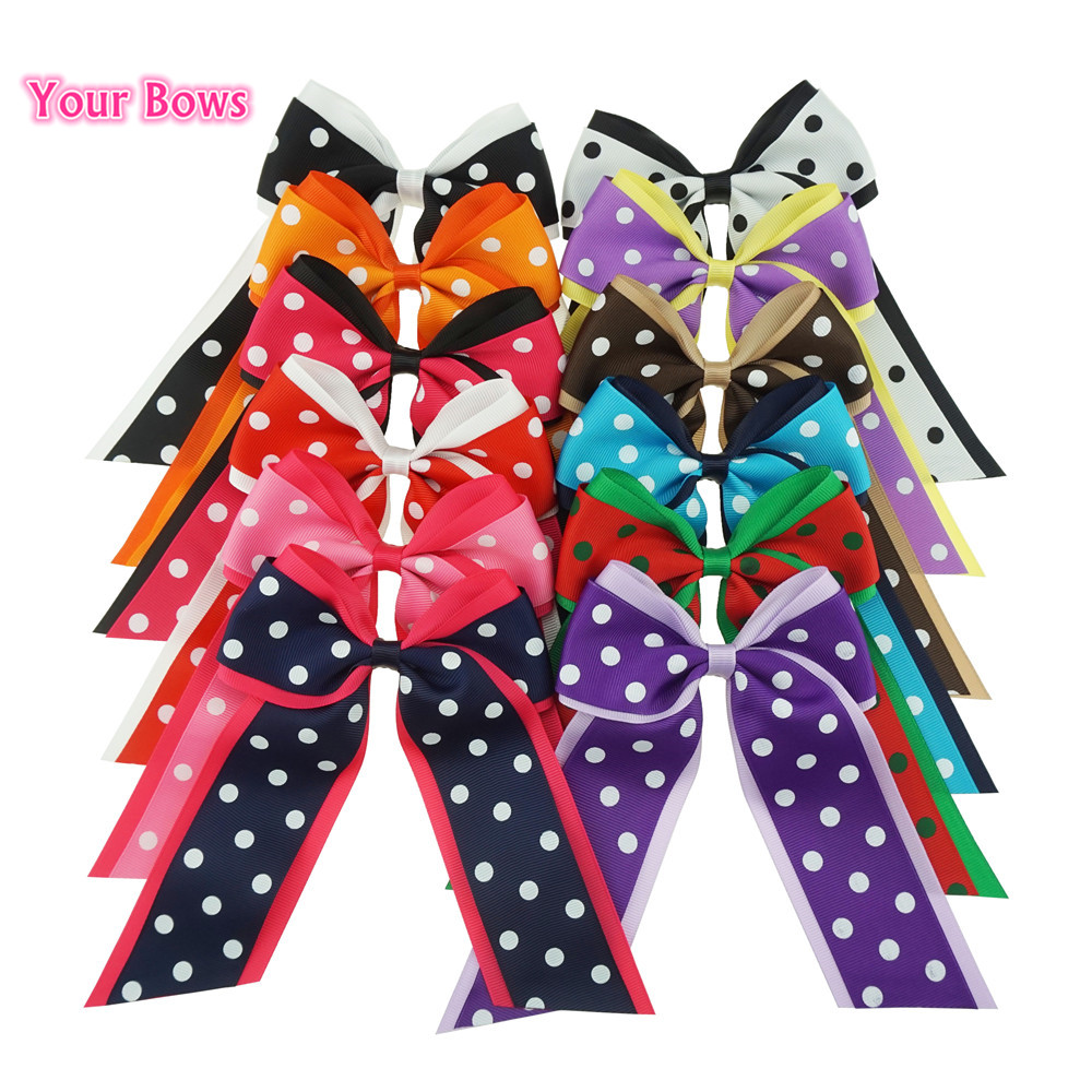 Your Bows 12Pcs/lot Cheer Hair Bow With Clips Dots Grosgrain Ribbon Bows Hairpins Children Headwear Kids Hair Accessories 2 pcs lot 4 high quality pearl hair bow for girls sweet cute hair clips rhinestone ribbon diy fashion headwear