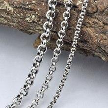 bf4a2f0d96fe Nuevo collar 100% real 925 COLLAR COLGANTE gruesa cadena larga hombres  mujeres regalo de plata tailandesa retro cadena X11
