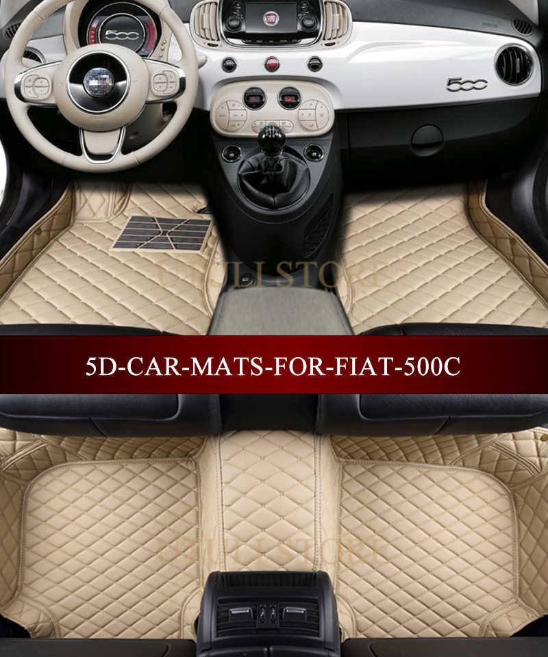 Deri Araba paspaslar FIAT 500 için 500C 3D özel fit araba halı ayak paspası gömlekleri