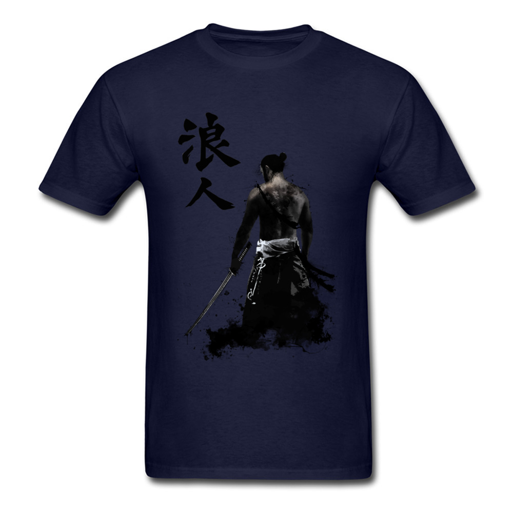 Ronin 3D Printed T-shirts for Men 100% Cotton Summer Tops T Shirt Custom Tee-Shirts Short Sleeve Prevalent Crew Neck Ronin navy
