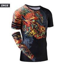 ZRCE ثلاثية الأبعاد التنين طباعة الصالة الرياضية مضحك الملابس سريعة الجافة اللياقة البدنية العداء الرجال موضة البلوز مع الذراع كم غريب الأشياء تي شيرت