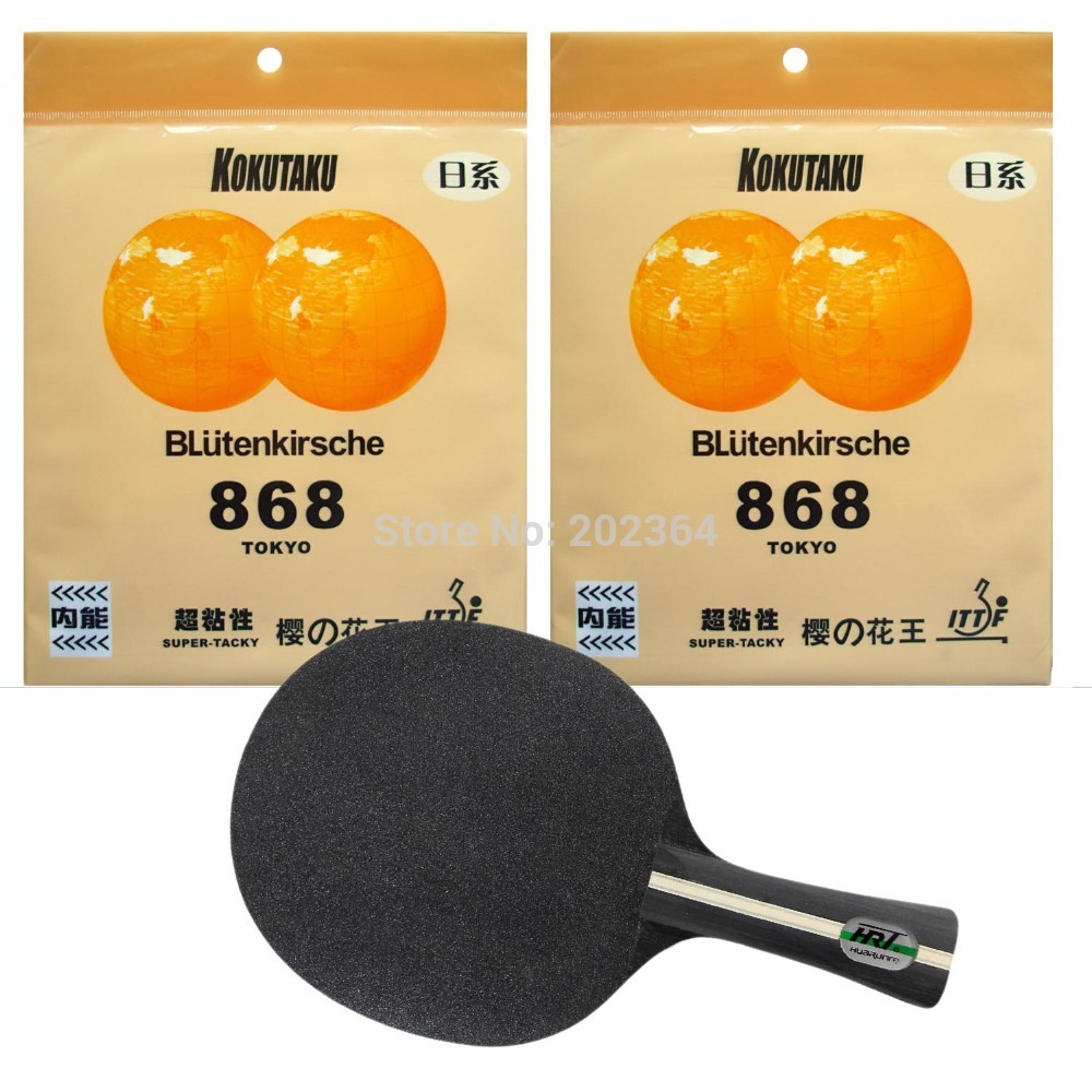 HRT Black Crystal Table Tennis Blade With 2x Kokutaku BLutenkirsche 868 (Super Tacky) Rubber for a Racket Long Shakehand  FL pro combo racket palio energy 01 blade with 2x kokutaku blutenkirsche 868 tokyo rubbers