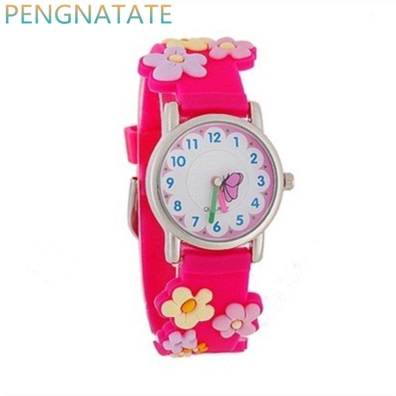 WILLIS NEW Fashion Cartoon Quartz Watches 3D Flowers Children Clock Waterproof Watches kids Best Leisure Gift Watch PENGNATATE