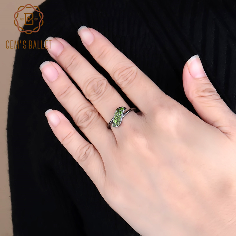 GEM'S BALLET 0.53Ct Natural Chrome Diopside Gemstone Ring 925 Sterling Silver Simple Elegant Rings for Women Fine Jewelry