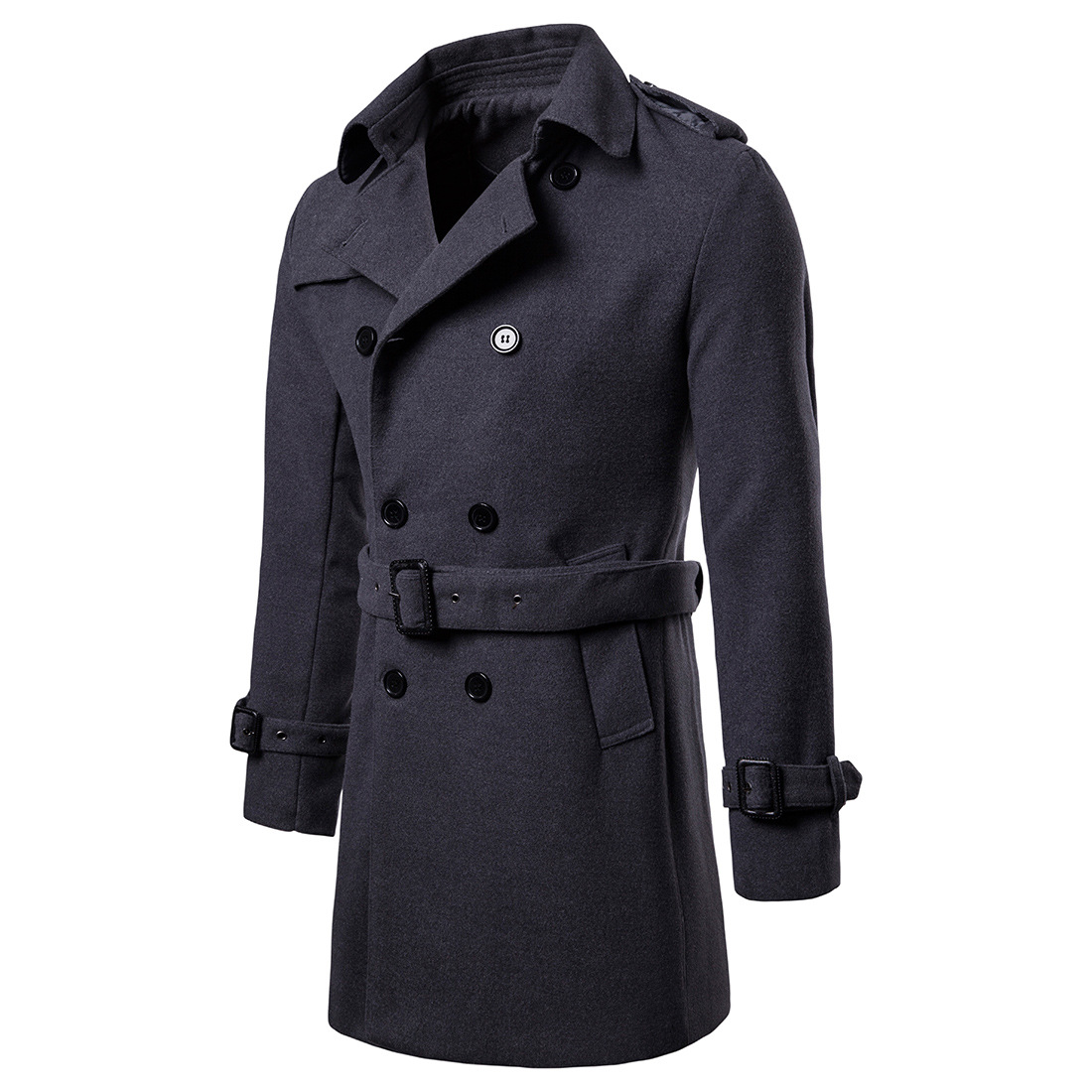 c0c368e66 2018 Winter Plus Size Men Long Trench Coat Double Breasted Long Sleeve  Casual Business Belted Wool Coats for Men Overcoats