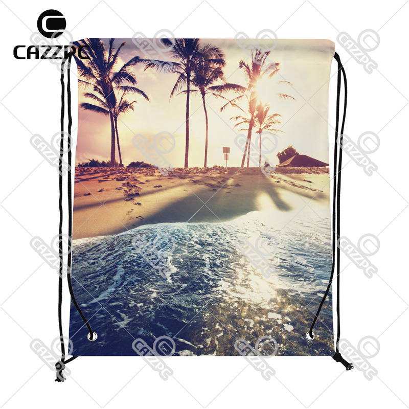 Summer Style Tropical Beach Seaside of Caribbean Print Custom Nylon Fabric Drawstring Shoes Storage Dust Bag Pack of 4