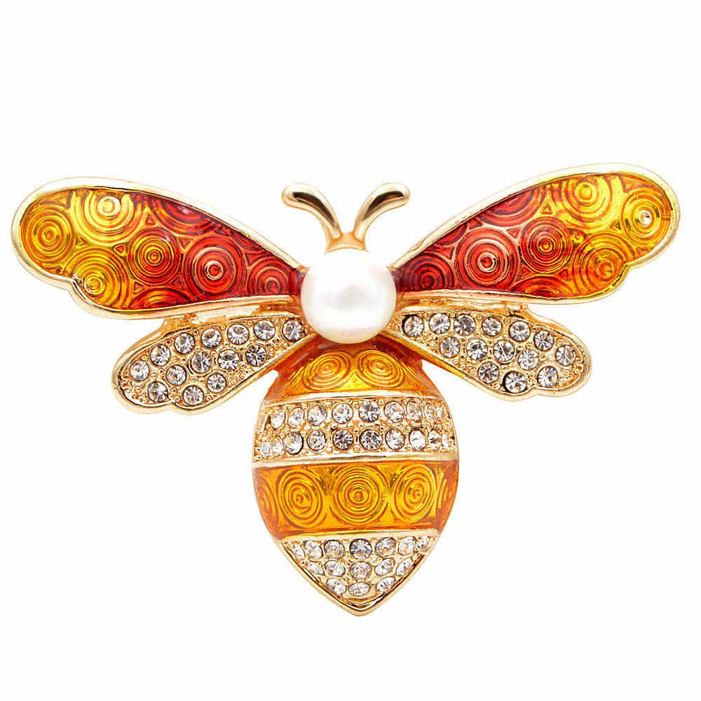 CINDY XIANG 3 สี Rhinestone ที่มีสีสัน Bee Brooches สำหรับผู้หญิงเคลือบแมลงเข็มกลัด Honeybee PIN กระเป๋าถือแขวนของขวัญ