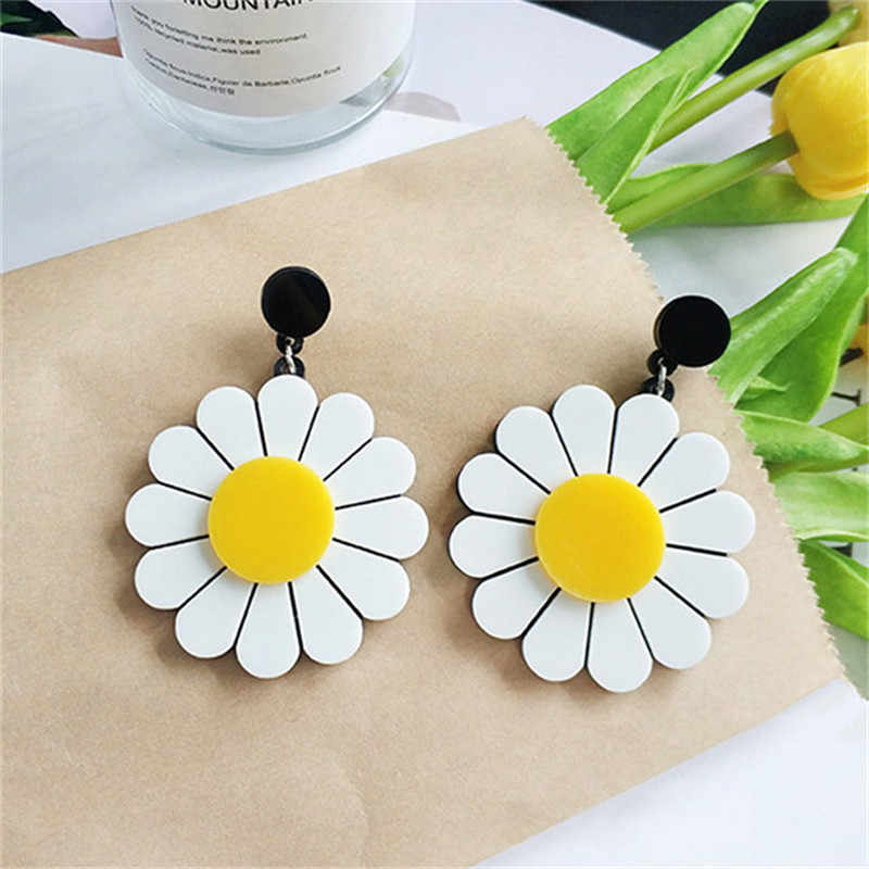 2019 Fashion Jewelry Lovely Flower Stud Earrings Women's Acrylic Sunflower Exaggerated Big Earrings Vacation Modern Earrings