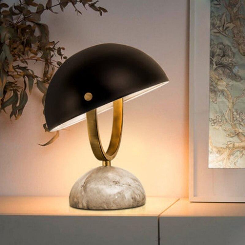 Nordique simple semi-circulaire métal réglable abat-jour lampe de table moderne créatif marbre étude décor E14 bouton interrupteur éclairage
