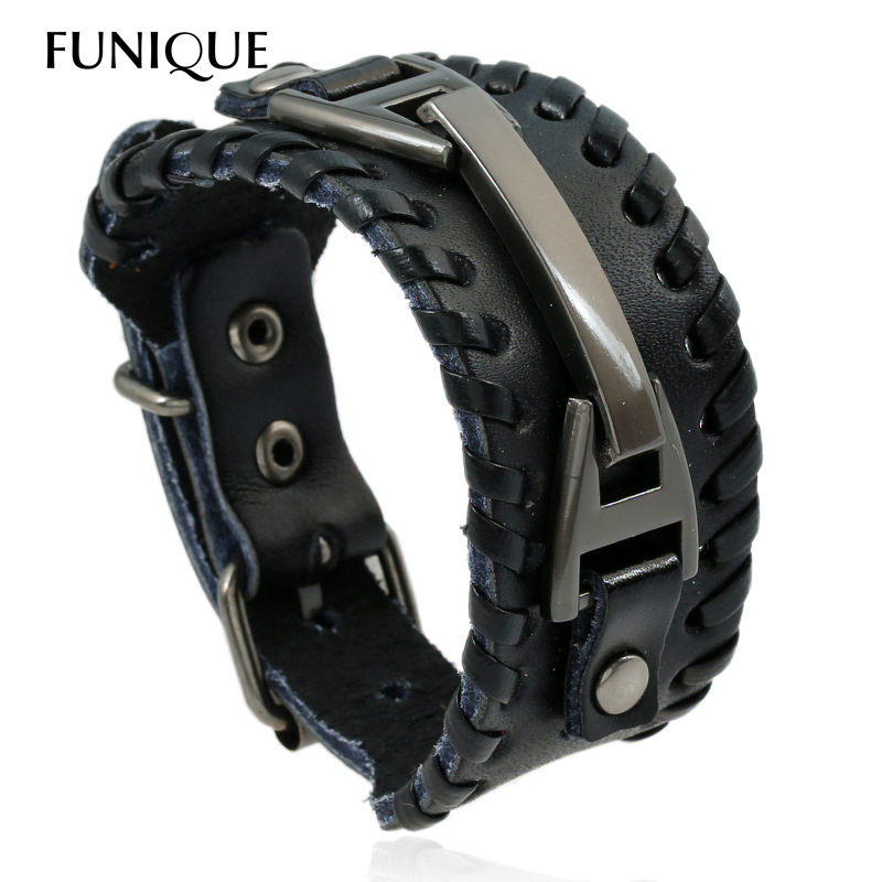 Punk Rock Men Weave Genuine Leather Brac
