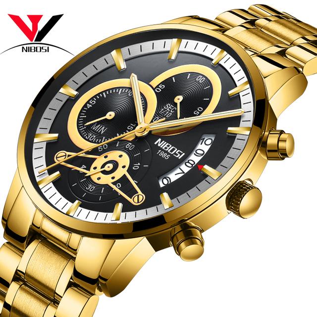 NIBOSI Jam Tangan Analog Pria Gold And Black Stainless Steel Top Brand Luxury 2019 *32871575655