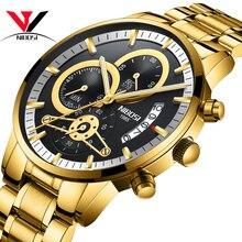 Мужские часы NIBOSI, мужские часы, золотистые и черные мужские часы, роскошные спортивные часы ведущей марки, водонепроницаемые мужские часы 2019