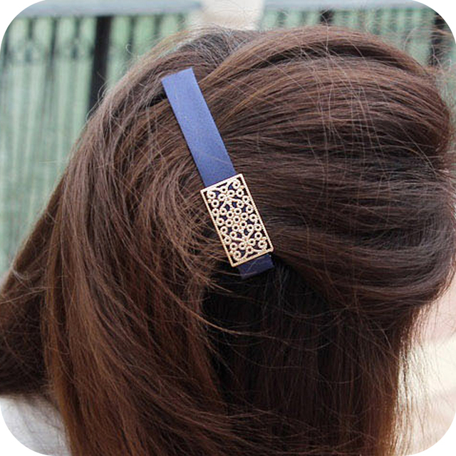 cloth  square gold plated alloy metal cutout vintage hairpin side-knotted clip hair accessory free shipping