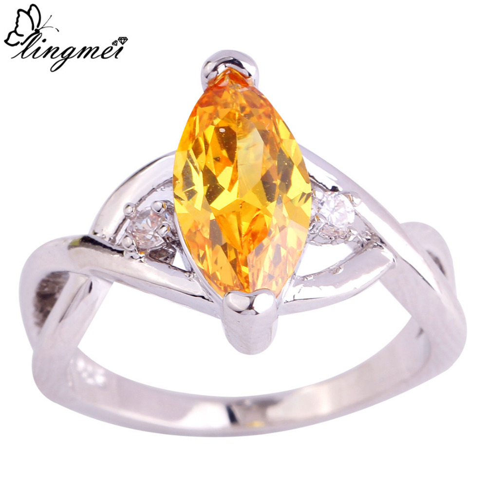 lingmei Wholesale Fashion Dazzling Jewelry Gold & White CZ Silver Color Ring Size 6 7 8 9 10 11 Noble Rings For Women Men