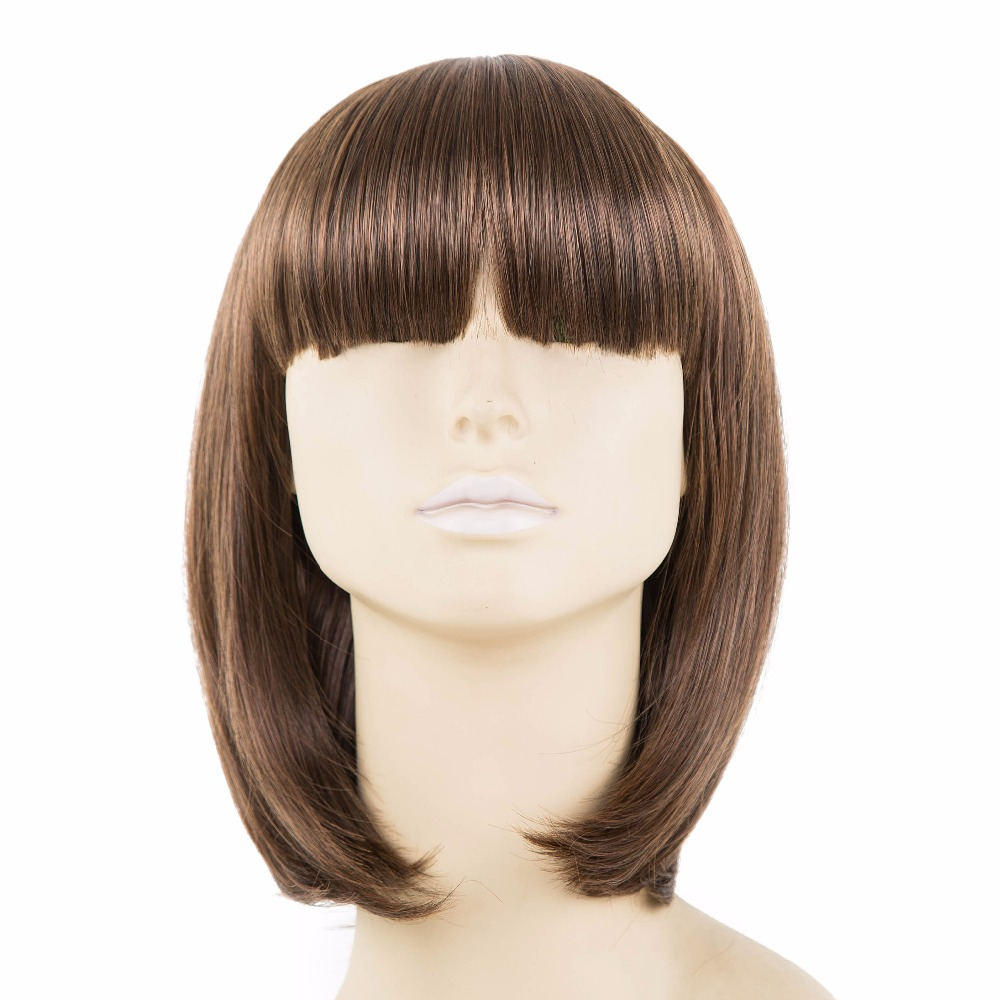 Коричневый парик Синтетические чёлки волос фей-Show синтетические термостойкие Волокно короткие волнистые бахрома Синтетические чёлки волос Для женщин женские COS-Play парики студент Боб волос