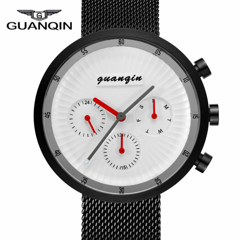 GUANQIN New Creative Men Watches Stainless Steel Mesh Strap Quartz Sport Watch Men Fashion Wristwatch Relogio Masculino