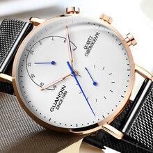 ساعات رجالية من GUANQIN ساعة يد فاخرة من علامة تجارية مضيئة من الفولاذ المقاوم للصدأ بتصميم إبداعي للرجال ساعات يد من الكوارتز