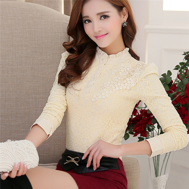 New 2016 Autumn Fashion Women Blouses Casual Lady Blouses Floral Lace Chiffon Blouses Plus Size Long Sleeve Stand Shirt  800A 25
