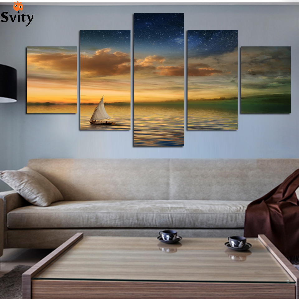 2017 new 5 Panel Boat Lake Landscape Painting Pictures Sunset Scenery Painting Beach Wall Picture Prints On Canvas No Frame A111