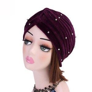 Image 4 - イスラム教徒の女性フリルベルベットビーズターバン帽子スカーフbanadansがん化学ビーニーキャップ帽子headwrapヘアアクセサリー