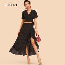 COLROVIE Knot Side Spot Crop Top With Ruffle Hem Skirt 2018 Summer V Neck  Short Sleeve Women Sets Polka Dot Casual Two Piece Set 8282aa288