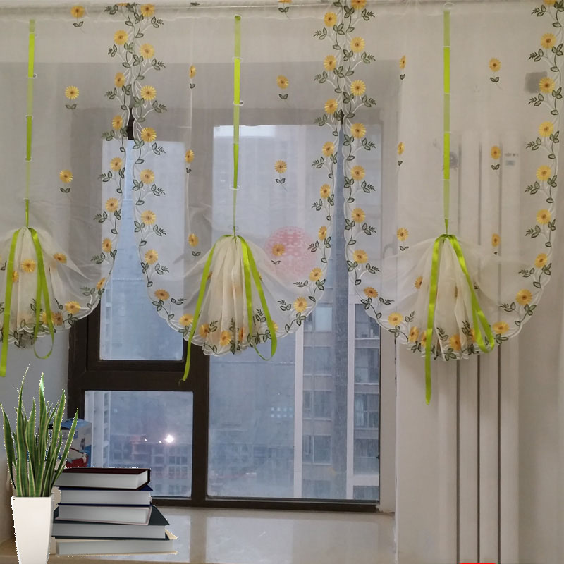 Modern Floral Tulle Window Treatments Sheer Curtains For Living Room The Bedroom Kitchen Panel Draperies And Blinds + 4 Hangers