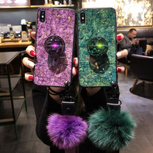 SYCASE Luxury Epoxy Fashion Green Purple phone case For iPhone X XS XR XsMax 6 6S 7 8 Plus Rhinestone Stand Hair Ball Soft Cover