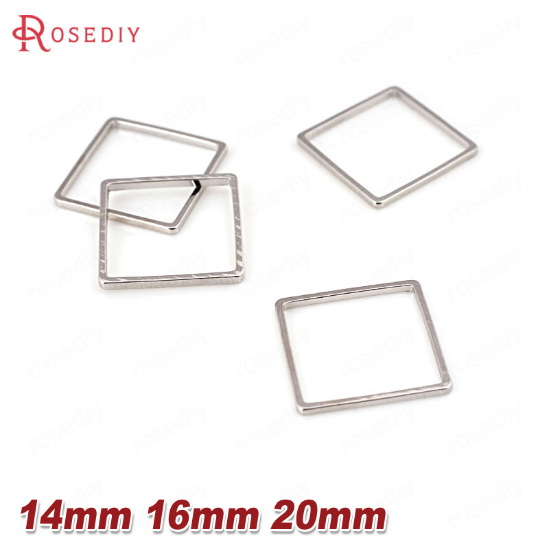 (26894-G)15PCS 14MM 16MM 20MM Brass Imitation Rhodium Square Closed Rings Diy Jewelry Findings Accessories Wholesale 26894 feron