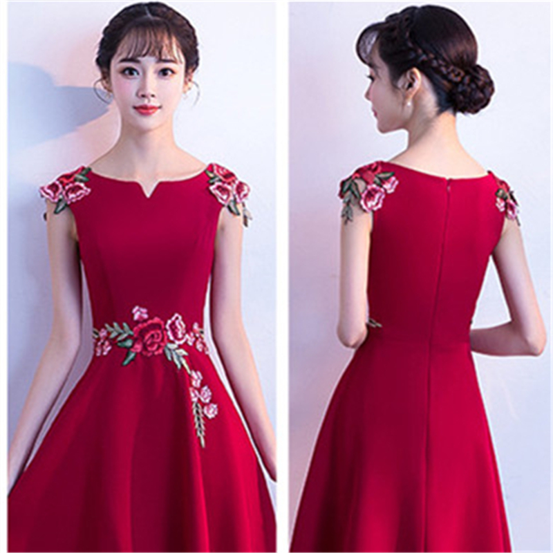 Short Sleeve Cocktail Dresses Elegant Embroidery Red Formal Party Dress Royal Flowers Satin A-line Knee Length Prom Gowns E311