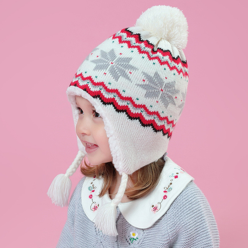 7c7398a1569 baby   kids girls white snowflakes winter fleece earflap beanie hat  children girl fashion casual knitted warm hat caps-in Hats   Caps from  Mother   Kids on ...