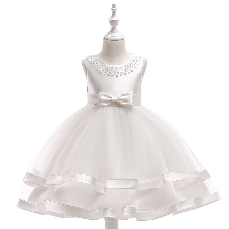 New Appliques Scoop-Neck Ruffled   Flower     Girls     Dress   With Big Bow Mesh Elegant Princess Knee Length   Dress   Party Ball Gown
