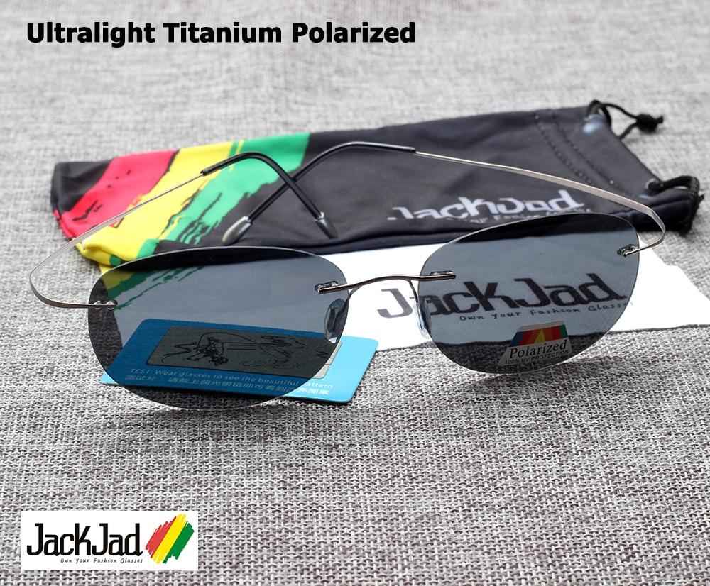 JackJad Fashion Men Driving Ultralight Titanium Polarized Sunglasses Brand Design Rimless Oval Frame Sun Glasses Oculos De Sol