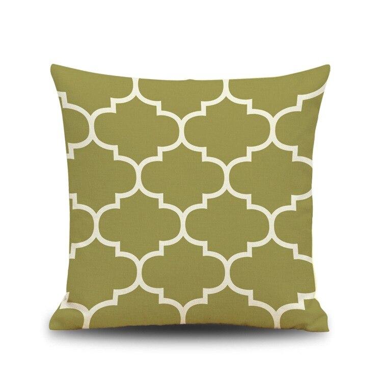 Cushion Cover Home Textile European Style Colorful Geometric Cotton Linen Vintage Cushion Pillow Case Cover Rustic Elegant Pillowslip Pillowcase Hot Sale