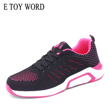E TOY WORD Women shoes mesh sports new running autumn flats lace up Black student casual