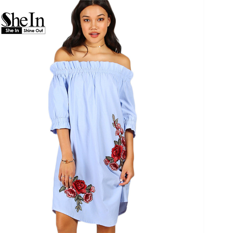 Buy Cheap SheIn Womens Dresses New Arrival 2017 Vintage Summer Dress Blue Rose Patch Detail Off The Shoulder Knee Length Dress