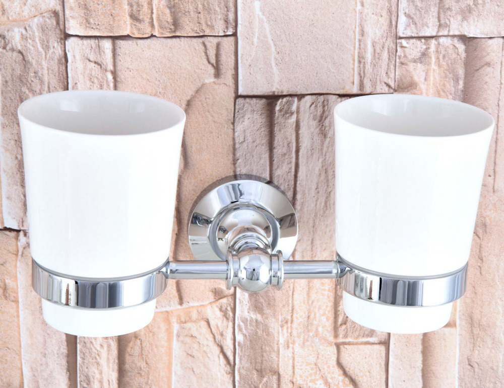 Wall Mounted Polished Chrome Brass Bathroom Toothbrush Holder Set Bathroom Accessory Dual Ceramic Cup mba798 image