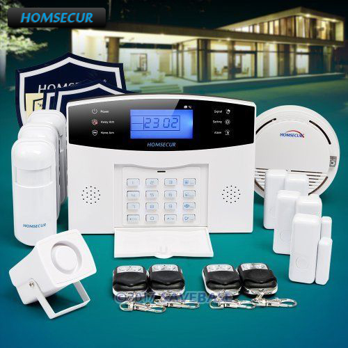 HOMSECUR Wireless&wired 433Mhz LCD GSM SMS Autodial Home Security Alarm System with French Voice Prompt russian french spanish prompt voice smart home security gsm alarm system wireless remote control by sms calling with lcd display