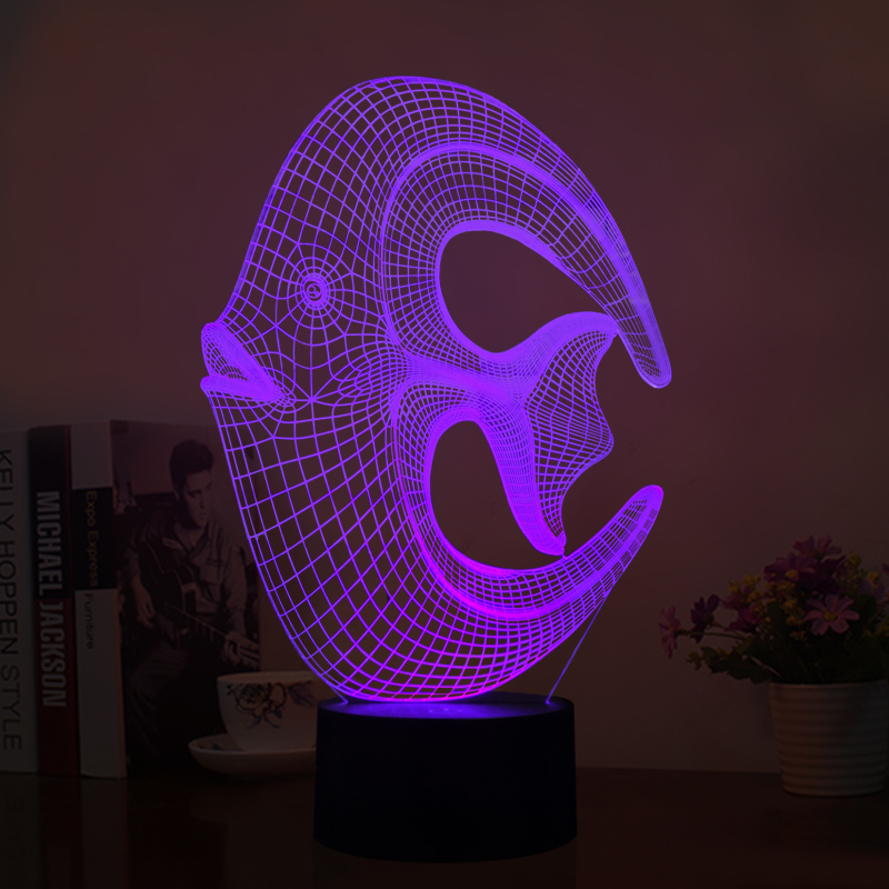 USB Amusing 3D Fish Shape Nightlights Multi-colors Three-dimensional Table Lamp for Baby Bedroom Lights