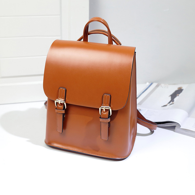 Leather Backpack Women College Bag For Teenagers School Bags Book Travel Bag Vintage Mochila Casual Rucksack Bags Sac A Dos   Qf
