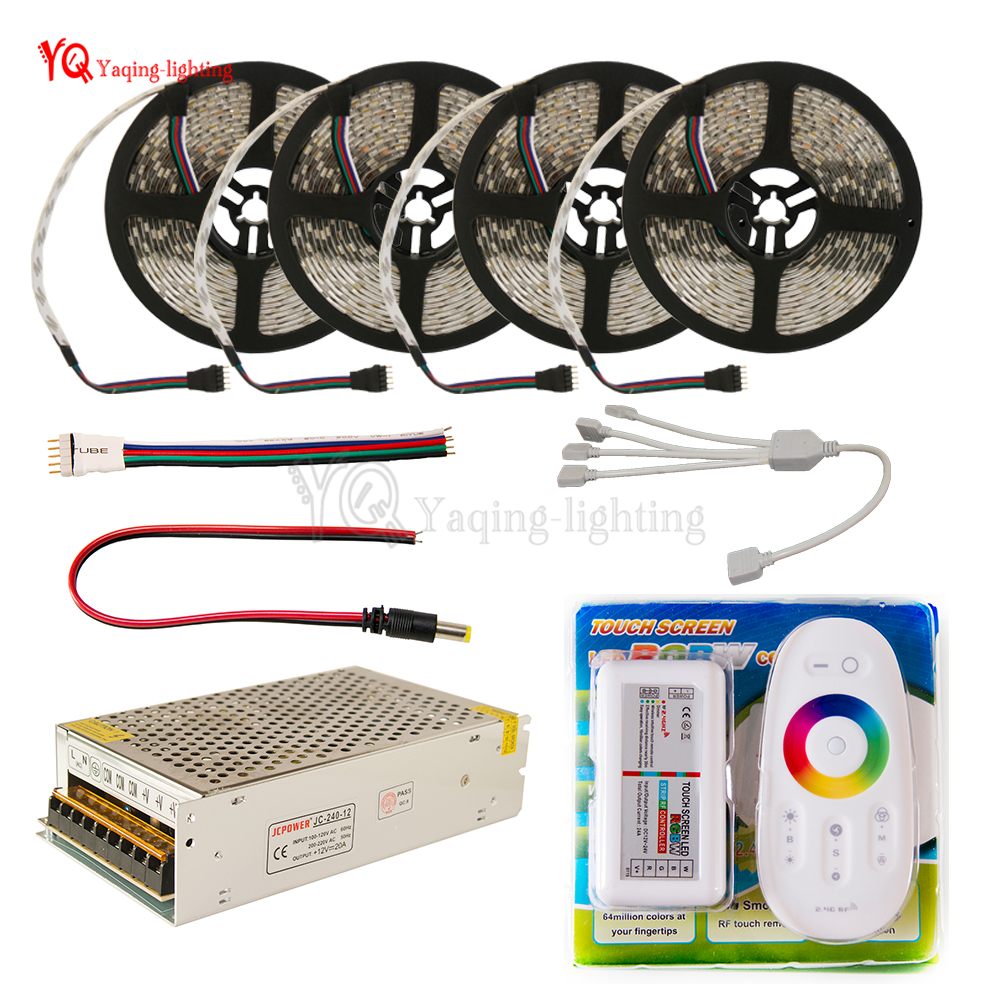 DC 12V RGB RGBW LED Strip 5050 ip65 Waterproof Flexible Led Light + 2.4G RF Remote Controller + Power adapter Kit 20M 15M 10M 5M rgb led strip 5m 5050 non waterproof flexible light 44 keys ir remote dc12v power adapter high brightness led strip light